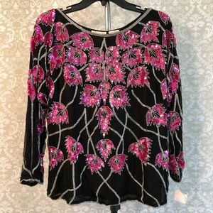 VINTAGE Shomax black, pink, silver sequin/bead top